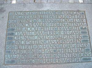 Placa Georg Elser Bügerbräukeller